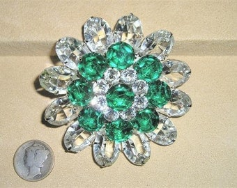 SALE 1960's Juliana Green Crystal Rhinestone Large Layered Brooch Vintage Jewelry 39