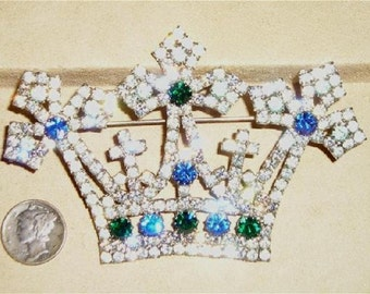 SALE Signed Kenneth Lane Rhinestone Crown Brooch 1960's Vintage Jewelry 61