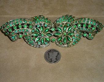 Huge Rhinestone Art Deco Brooch Vintage 1930's Signed CC Jewelry 31