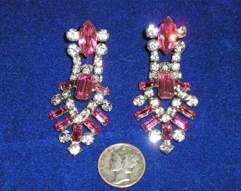 Pink Rhinestone Dangle Earrings Vintage 1940's Screw Back Jewelry 2159