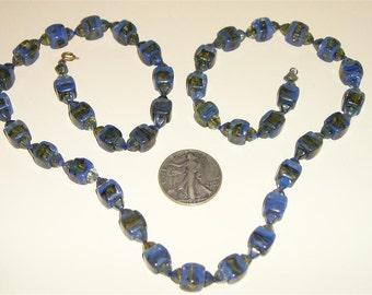 SALE Vintage Art Deco Glass Necklace 1920's Artistic Jewelry 2265