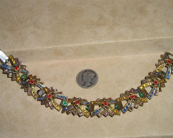 SALE Vintage Art Deco Rhinestone Bracelet 1930's Multi Colored Stones Jewelry 4149