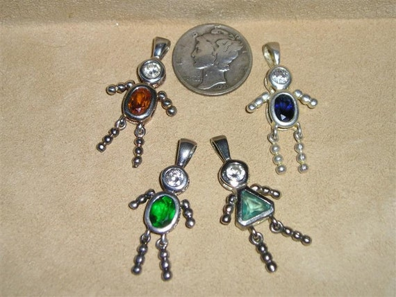 Vintage Sterling Silver Rhnestone People Charms Or Pendants 1980's Signed Jewelry Lot 2076