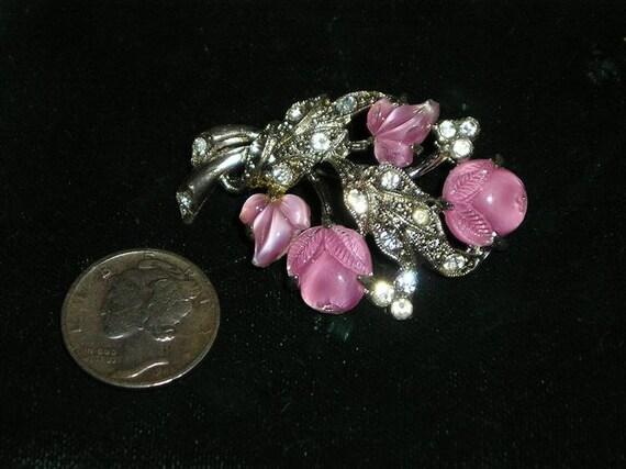 Vintage Rhinestone Fruit Salad Pin 1930's Glass Stones Jewelry 2283