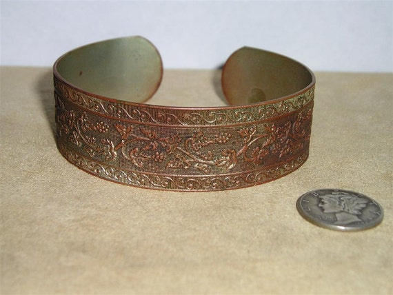SALE Antique Copper Bracelet Grape Vine Pattern 1890's Cuff Vintage Jewelry 3023