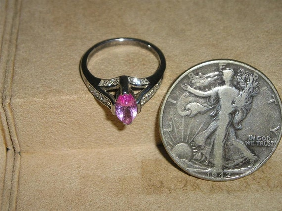 Avon Sterling Silver Ring Vintage With Pink Stone 1970 S