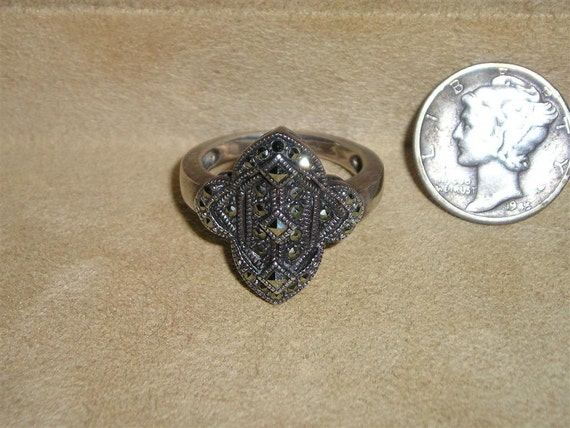 Vintage Sterling Silver Art Deco Ring With Marcasites Size 7 1930's Signed Jewelry 1034