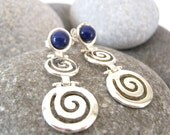 COUPON for 40% off ....use SALE40.....Grecian  Sterling Silver Spiral with Indigo blue Earrings