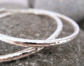 COUPON for 40% off ....use SALE40..... Hammered  Sterling Silver Earring Hoops - Handmade No 0-4