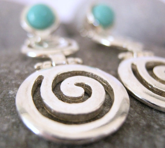 Grecian  Sterling Silver Spiral with turquoise stone Earrings