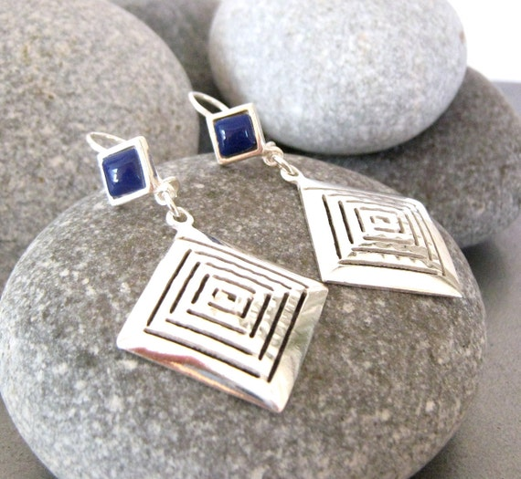 Grecian Hammered touched  Sterling Silver Earrings with indigo blue stone