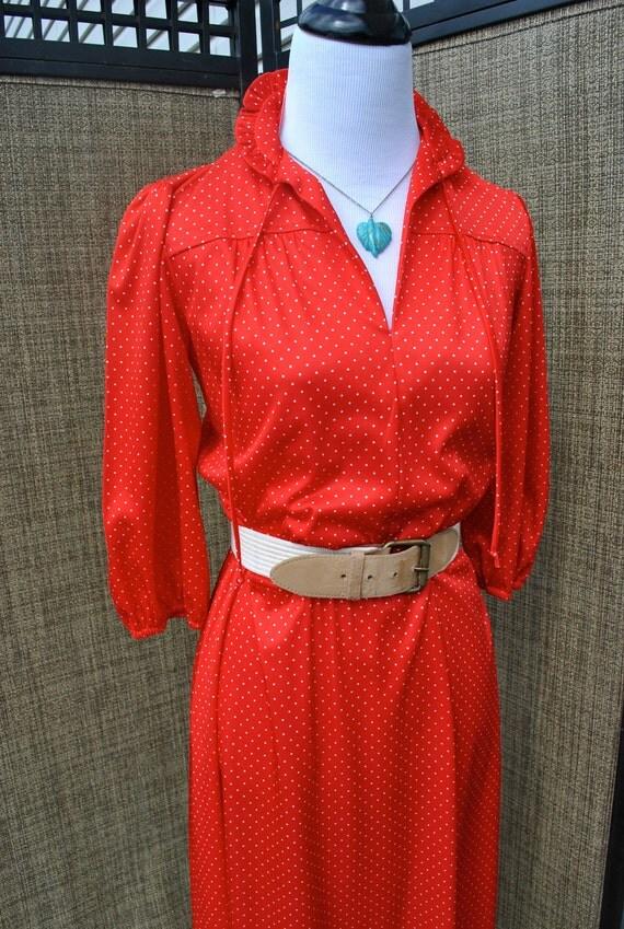 SALE Vintage 1970's Chipper Red White Polka Dot Ruffle Neckline Dress