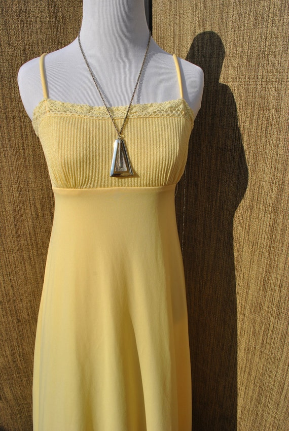 Vintage 1970's Yellow Long Spaghetti Strap Sundress Size Small