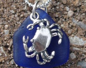 Sea Glass Jewelry Necklace with Cobalt Blue Sea Glass and Sterling Silver Crab Charm