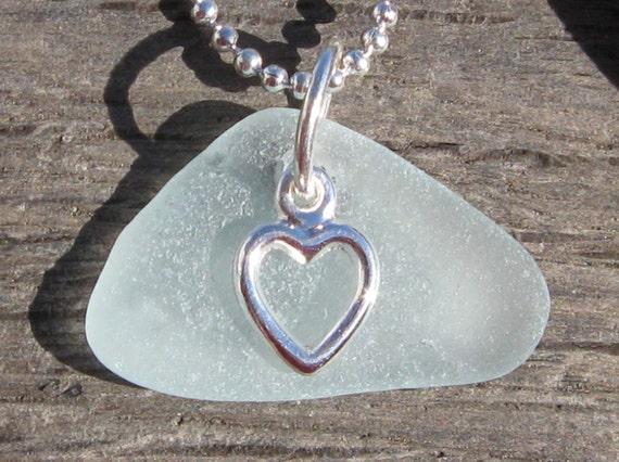Sea Glass Jewelry Aqua Jersey Shore Sea Glass Heart Necklace -