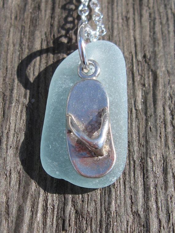 Sterling Silver Flip Flop Sea Glass Necklace