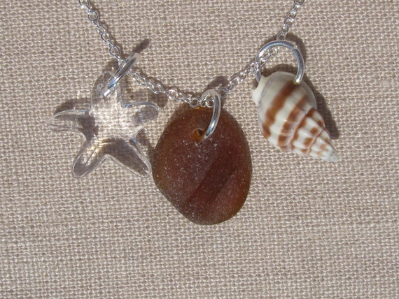 HELP DISASTER RELIEF Jersey Shore Sea Glass Necklace with Ridged Chocolate Brown Sea Glass, Swarovski Crystal Starfish   and Sea Shell