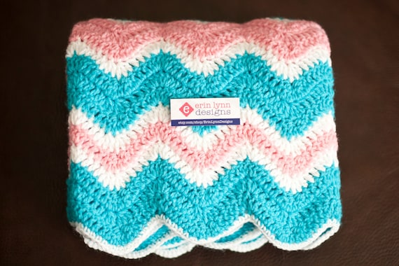 Pink, Turquoise and White Zig Zag Baby/ Lap Afghan
