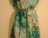 Handmade Mini Dress Made From Vintage Kimono Fabric (Med)