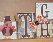 Autumn Thanksgiving Decoration Wood Block Set Gobble Gobble Give Thanks Thanksgiving Boutique Custom Block Set Thanksgiving Decor