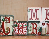 Christmas Festive Holiday HoHoHo Merry Christmas Boutique Custom Christmas Holiday Block Set