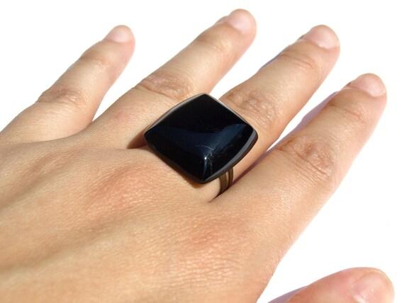 Jet Black Glass Rectangle Ring