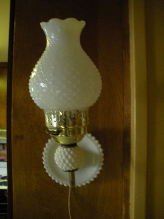Antique Hobnail Milk Glass Wall Mount Lamp By Homeintheoaks