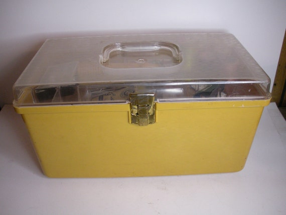 Vintage Mustard Yellow Sewing Box Full Of Sewing Notions