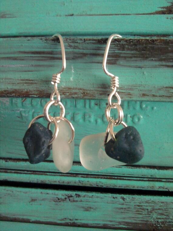 "Sterling Silver Sea and Slag Glass Earrings, ""Sea, Slag & Sterling"""