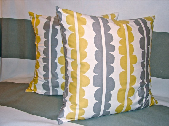 20x20 Yellow, Grey and White Decorative Pillow Cover