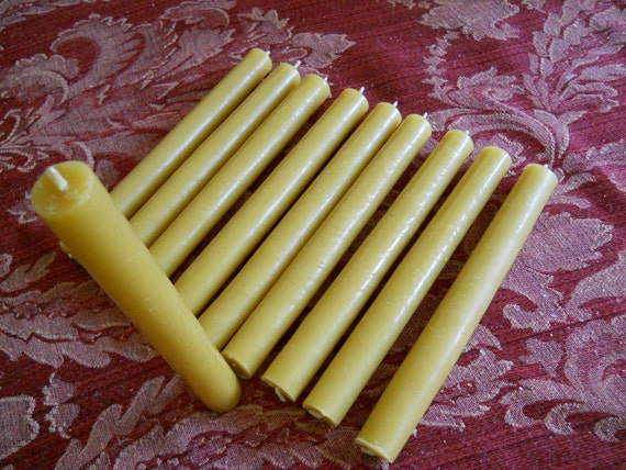 "Bulk 100 ORGANIC beeswax Candles 7"" x 3/4"""