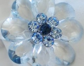 Blue Lucite Chunky Spring Flower Brooch