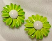 Emmons Lime Green Enamel Daisy Earrings