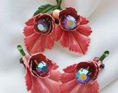 50s Pink Enamel Rhinestone Flower Brooch and Earring Set