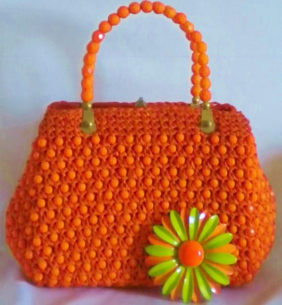 Vintage Beaded Italian Handbag Bright Orange