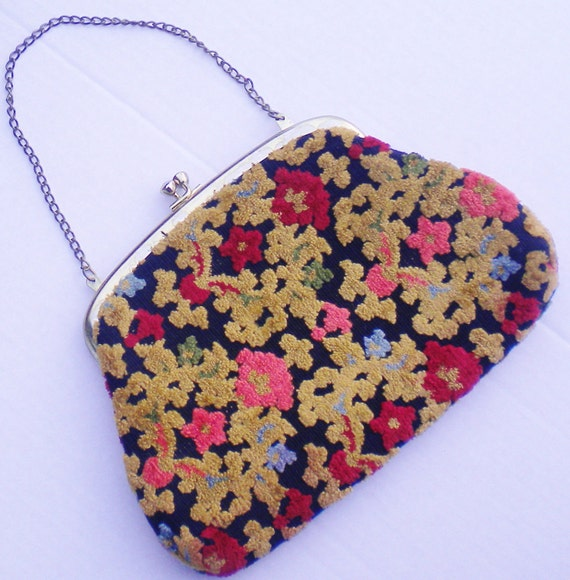 60s Mini Floral Carpet Bag
