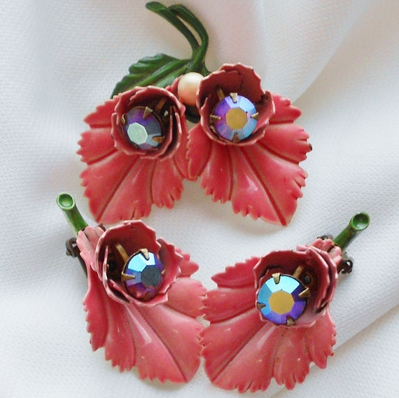50s Pink Enamel Rhinestone Flower Brooch and Earring Set