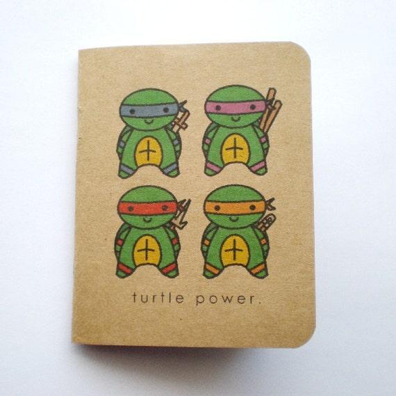 Kawaii Ninja Turtle Power Mini Kraft Notebook