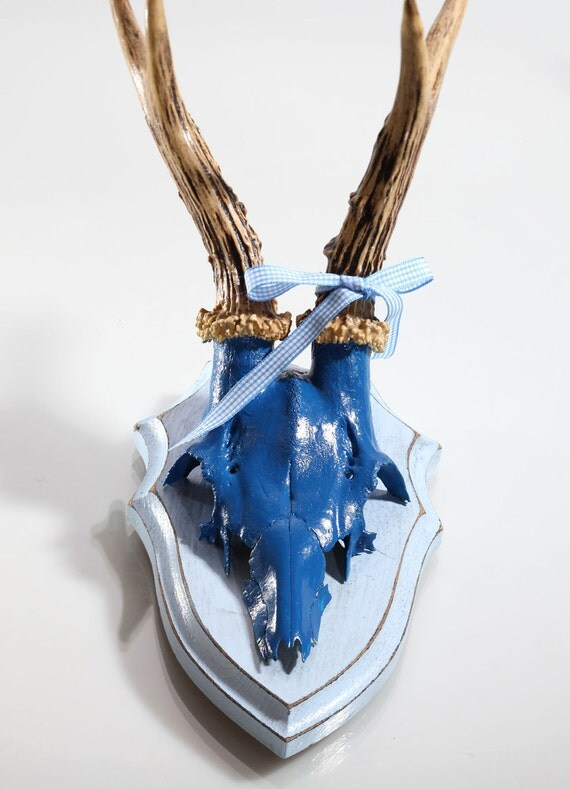 """Stylish wall sculpture, deer antler with scull, deer scull, deer mount, wall decoration, antler hook, antlers,  """"Bodo"""""""