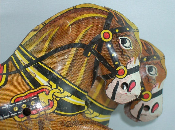 Marx Horse Pair - 1930s Lithographed Tin Toy