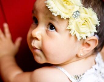 Baby Headbands -  Shabby Headband - yellow headband