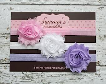 Baby Headbands - Newborn Headbands - Shabby Headbands - Pink Headband