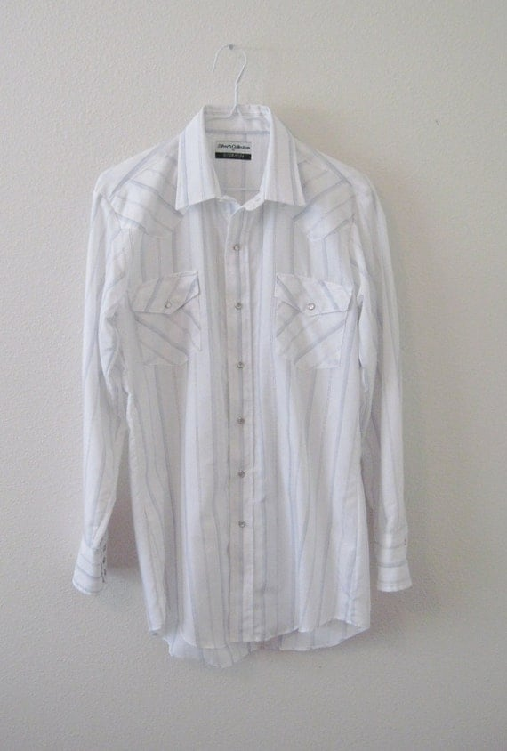 Vintage Mens Striped Western Pearl Snap