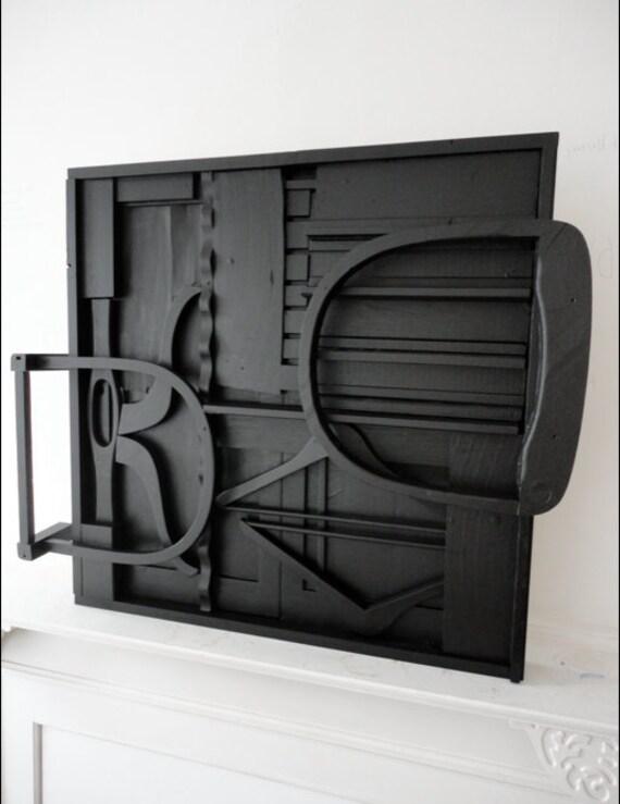 Black Louise Nevelson Style wall sculpture - mid century art