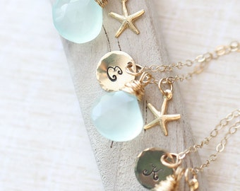 Gold Bridesmaid GIFT SET, SIX Personalized Necklaces, Bridesmaid Jewelry, Bridesmaid Starfish Necklace, Silver Necklace, Bridal Jewelry Set