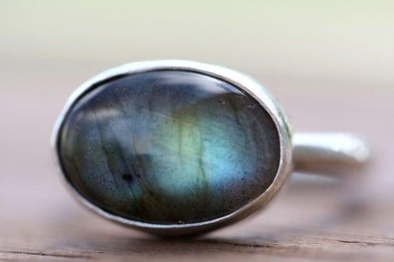 Labradorite Ring, Sterling Silver Ring, Gemstone Ring, Organic Stone Ring