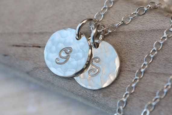Hand Stamped Necklace, Initial Necklace, Two Initials,  Mothers Necklace, Sterling Silver Necklace, Personalized Sterling