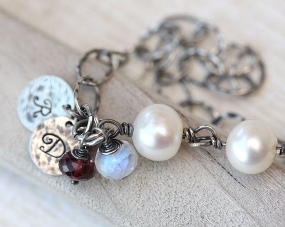 Mother's Bracelet, Rustic Personalized Bracelet, Three Initials, Three Stones, Personalized, Birthstone Charm Bracelet