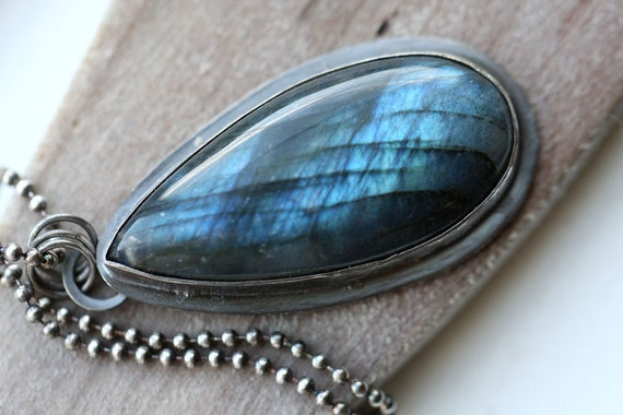 Labradorite Necklace,  Blue Fire Labradorite, Rustic Labradorite Necklace, Bezel Set Cabochon, Sterling Silver Necklace