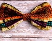 Men's CLip on Bow tie: Ankara African Wax print  turquoise, orange, brown, tan and purple, BALOGUN